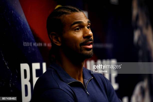 David Haye speaks to the media during a press conference at the Park Plaza Hotel on October 4 2017 in London England Haye and Bellew will face each...