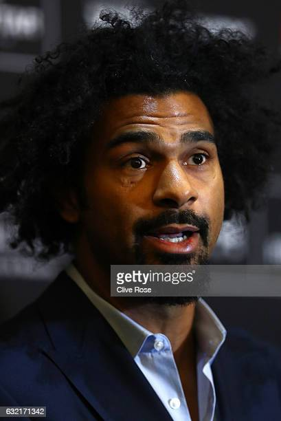 David Haye talks during a press conference at Park Plaza Hotel London Riverbank on January 20 2017 in London England