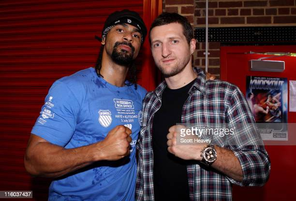 David Haye with Carl Froch during a media training day at his Hayemaker Gym in London on June 14 2011 in London England