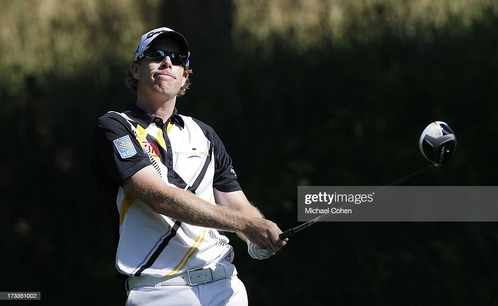 David Hearn of Australia hits a drive during the second round of the John Deere Classic held at TPC Deere Run on July 12, 2013 in Silvis, Illinois.