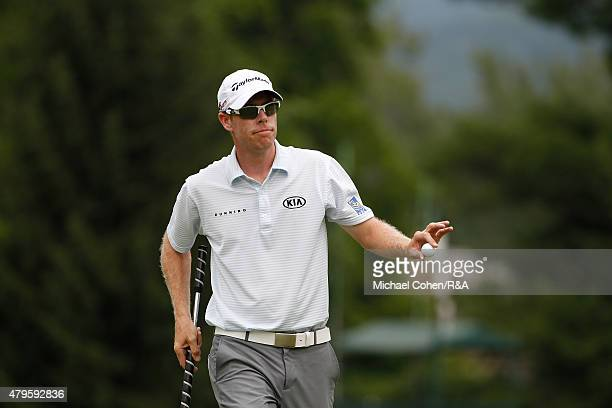 David Hearn of Canada acknowledges the gallery on the eighth green during the final round of the Greenbrier Classic held at The Old White TPC on July...