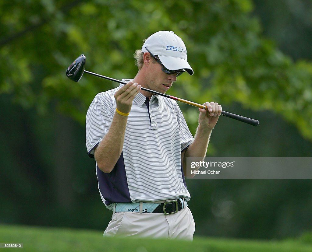 David Hearn of Canada examines the shaft of his driver during the third round of the Xerox Classic at the Irondequoit Country Club held on August 16, 2008 in Rochester, New York.