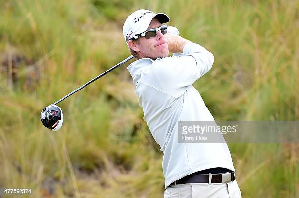 David Hearn of Canada hits his tee shot on the fifth hole during the first round of the 115th US Open Championship at Chambers Bay on June 18 2015 in...