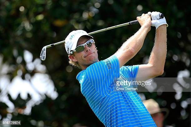David Hearn of Canada hits his tee shot on the second hole during the final round of the Arnold Palmer Invitational Presented by MasterCard at Bay...