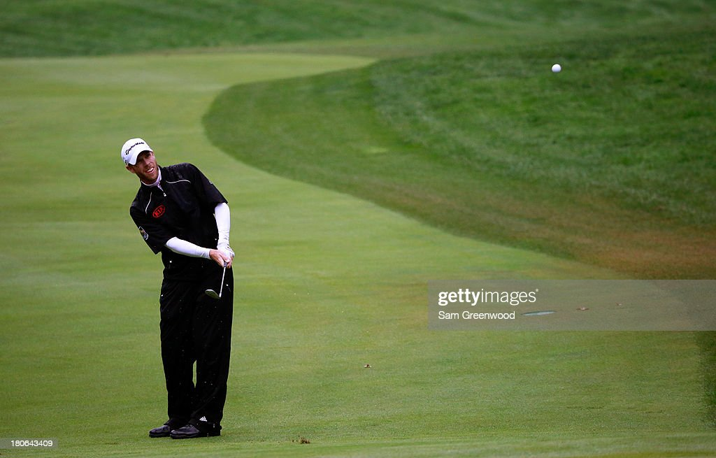 David Hearn of Canada hits off the first fairway during the Final Round of the BMW Championship at Conway Farms Golf Club on September 15, 2013 in Lake Forest, Illinois.