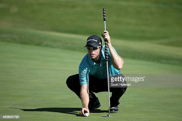 David Hearn of Canada lines up a putt for birdie on the ninth green during the first round of the Shriners Hospitals For Children Open on October 22...