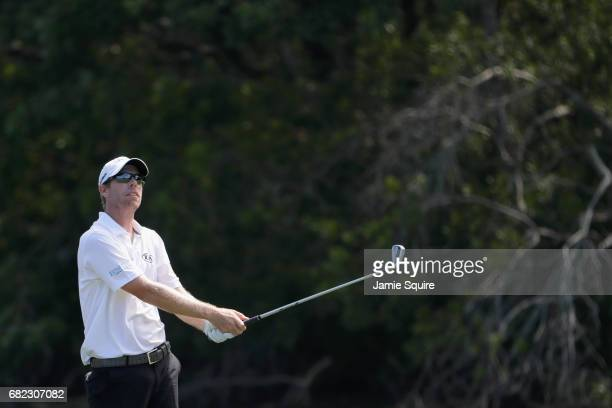 David Hearn of Canada plays a shot on the 14th hole during the second round of THE PLAYERS Championship at the Stadium course at TPC Sawgrass on May...
