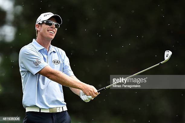 David Hearn of Canada plays a shot on the fifth hole during round three of the RBC Canadian Open at Glen Abbey Golf Club on July 25 2015 in Oakville...