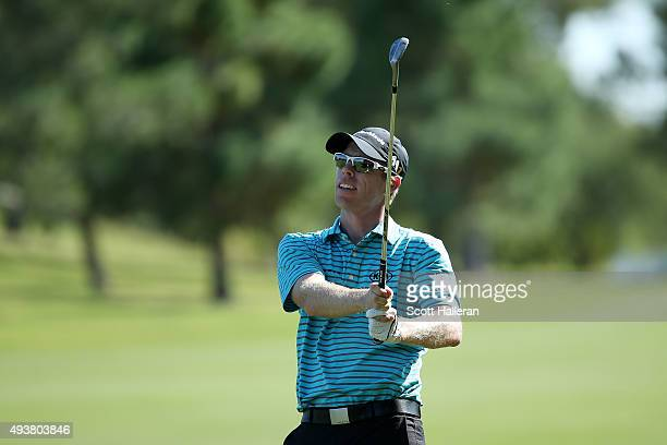 David Hearn of Canada plays a shot on the ninth hole during the first round of the Shriners Hospitals For Children Open on October 22 2015 at TPC...