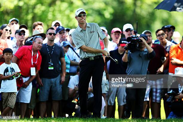 David Hearn of Canada plays a shot on the second hole during the final round of the RBC Canadian Open at Glen Abbey Golf Club on July 26 2015 in...