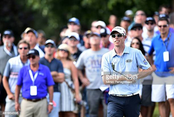 David Hearn of Canada plays a shot on the tenth hole during round three of the RBC Canadian Open at Glen Abbey Golf Club on July 25 2015 in Oakville...
