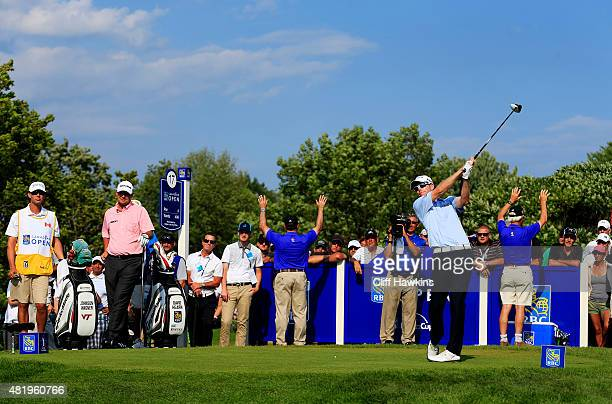 David Hearn of Canada plays his shot from the 17th tee during round three of the RBC Canadian Open at Glen Abbey Golf Club on July 25 2015 in...