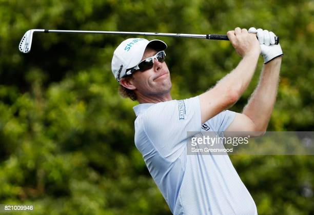 David Hearn of Canada plays his shot from the 17th tee during the third round of the Barbasol Championship at the Robert Trent Jones Golf Trail at...