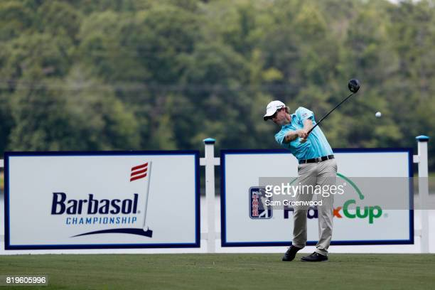 David Hearn of Canada plays his shot from the 18th tee during the first round of the Barbasol Championship at the Robert Trent Jones Golf Trail at...