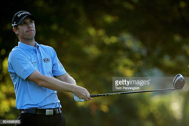 David Hearn of Canada plays his shot from the first tee during the first round of the Sony Open In Hawaii at Waialae Country Club on January 14 2016...
