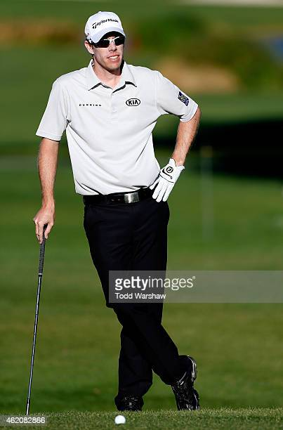 David Hearn of Canada prepares to take his shot on the first green during round three of the Humana Challenge in Partnership with The Clinton...