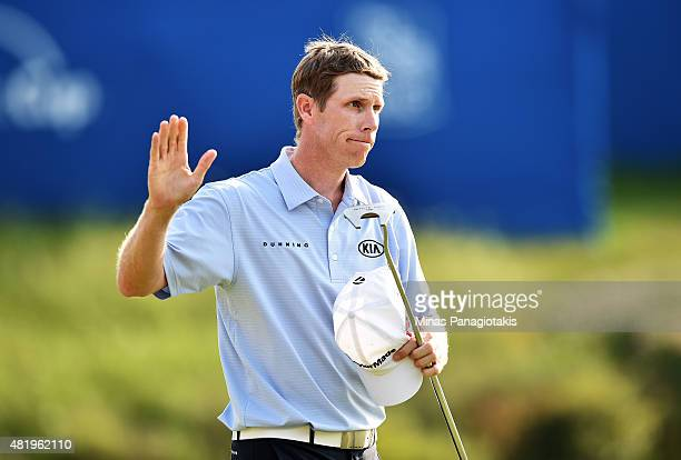 David Hearn of Canada reacts after finishing on the 18th green during round three of the RBC Canadian Open at Glen Abbey Golf Club on July 25 2015 in...