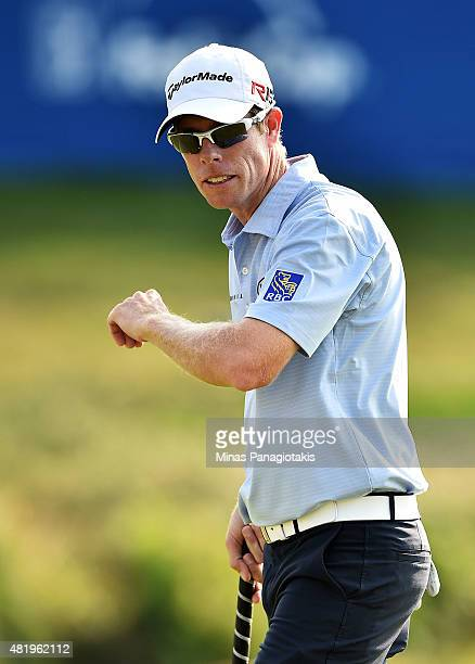 David Hearn of Canada reacts on the 18th green during round three of the RBC Canadian Open at Glen Abbey Golf Club on July 25 2015 in Oakville Canada