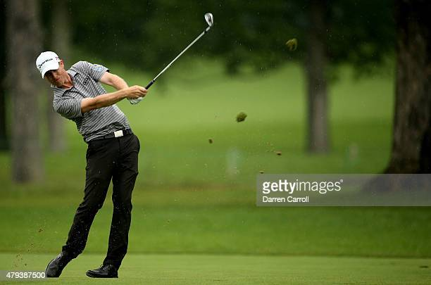 David Hearn of Canada takes his second shot on the seventh hole during the second round of the Greenbrier Classic at the Old White TPC on July 3 2015...