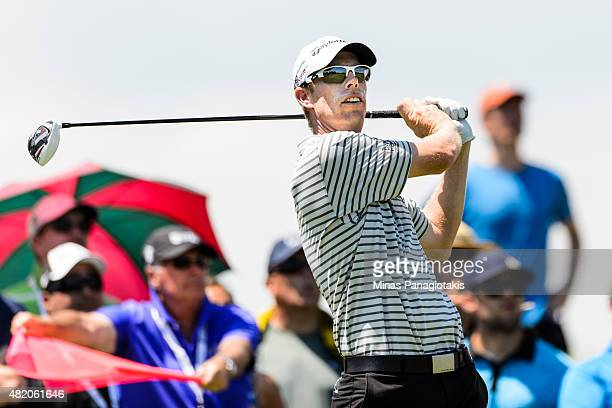 David Hearn of Canada tees off from the third hole during the final round of the 2015 RBC Canadian Open at Glen Abbey Golf Course on July 26 2015 in...