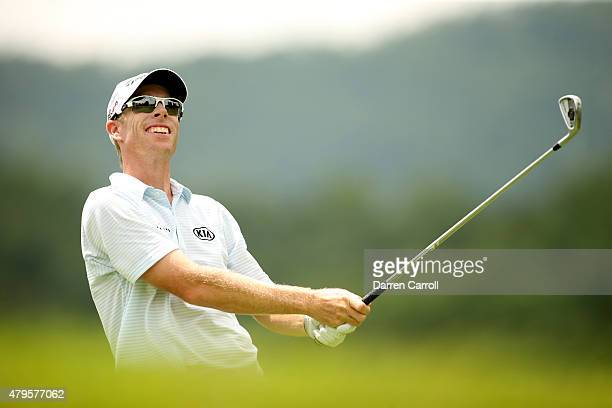 David Hearn of Canada tees off on the third hole during the final round of the Greenbrier Classic held at The Old White TPC on July 5 2015 in White...