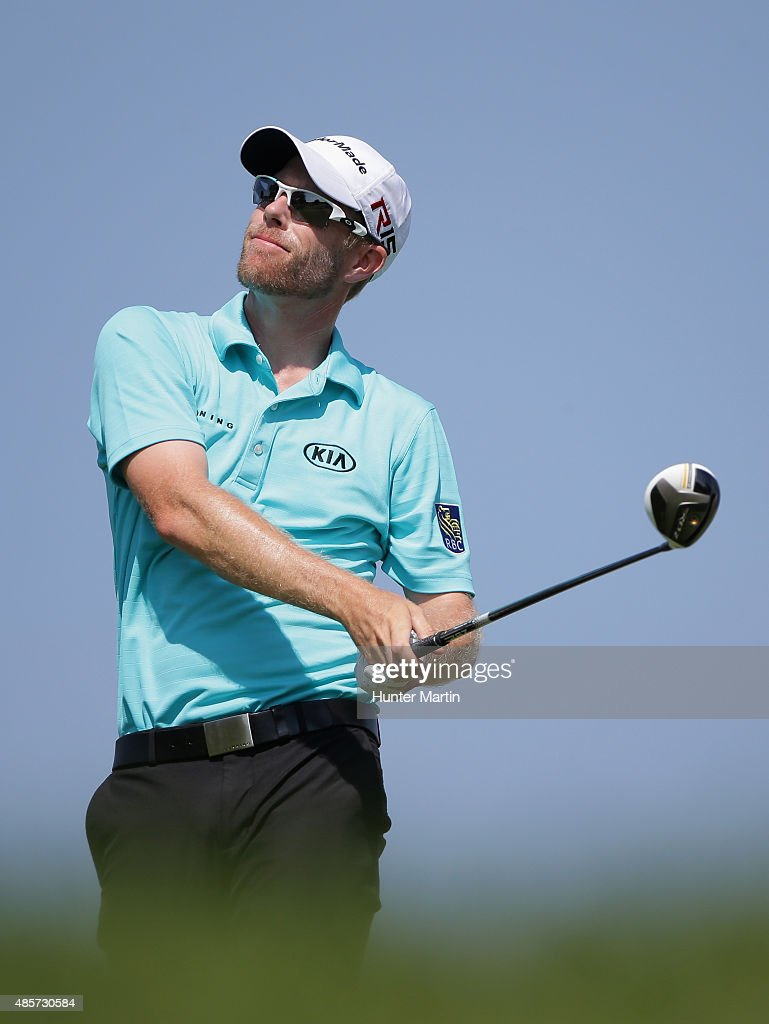 David Hearn of Canada watches his tee shot on the second hole during the third round of The Barclays at Plainfield Country Club on August 29, 2015 in Edison, New Jersey.
