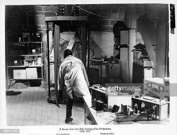 David Hedison is turned into a man sized fly in a scene from the film 'The Fly' 1958