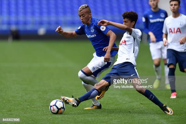 David Henen of Everton and Brooklyn LyonsFoster of Tottenham challenge for the ball during the Premier League 2 match between Everton U23 and...