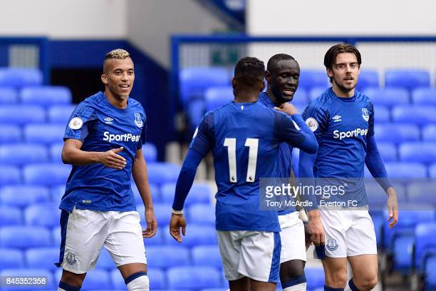 David Henen of Everton celebrates his goal with team mates Oumar Niasse Ademola Lookman and Antony Evans during the Premier League 2 match between...