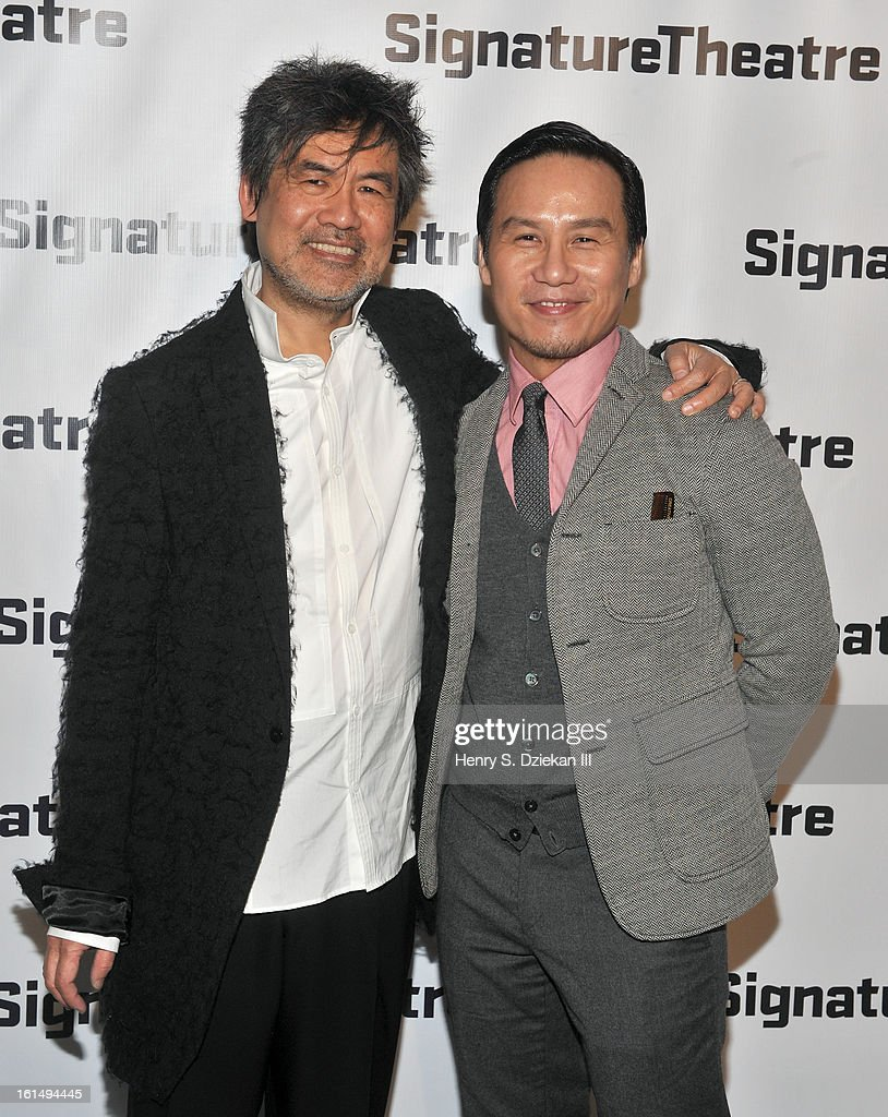 David Henry Hwang and <a gi-track='captionPersonalityLinkClicked' href=/galleries/search?phrase=B.D.+Wong&family=editorial&specificpeople=217785 ng-click='$event.stopPropagation()'>B.D. Wong</a> attend the 2013 Signature Theatre Gala at The Signature Center on February 11, 2013 in New York City.