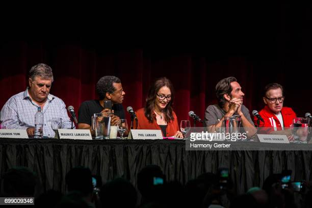 David Herman Tress MacNeille Phil LaMarr Maurice LaMarche and Billy West speak at the Q A panel at the Launch Of 'Futurama Worlds Of Tomorrow' at...