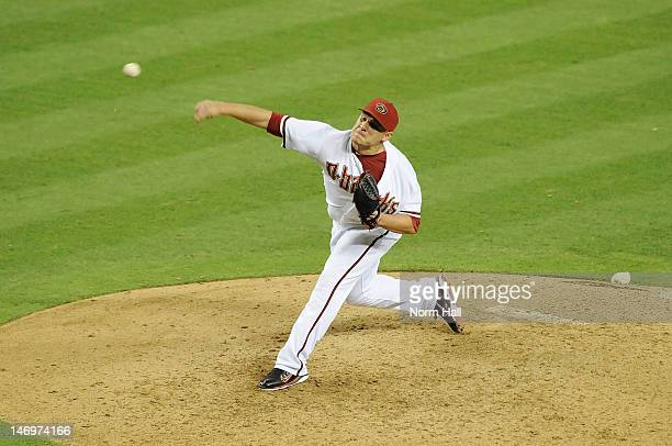 David Hernandez of the Arizona Diamondbacks delivers a pitch against the Seattle Mariners at Chase Field on June 19 2012 in Phoenix Arizona