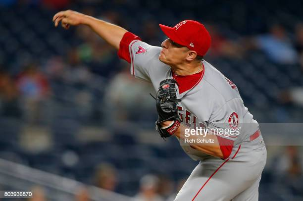 David Hernandez of the Los Angeles Angels of Anaheim in action against the New York Yankees during a game at Yankee Stadium on June 22 2017 in the...