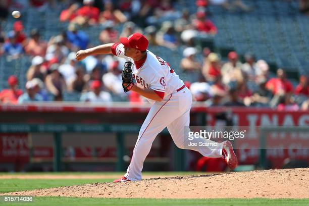 David Hernandez of the Los Angeles Angels pitches in the eighth inning against the Tampa Bay Rays at Angel Stadium of Anaheim on July 16 2017 in...