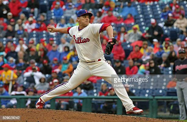 David Hernandez of the Philadelphia Phillies during a game against the Cleveland Indians at Citizens Bank Park on May 1 2016 in Philadelphia...