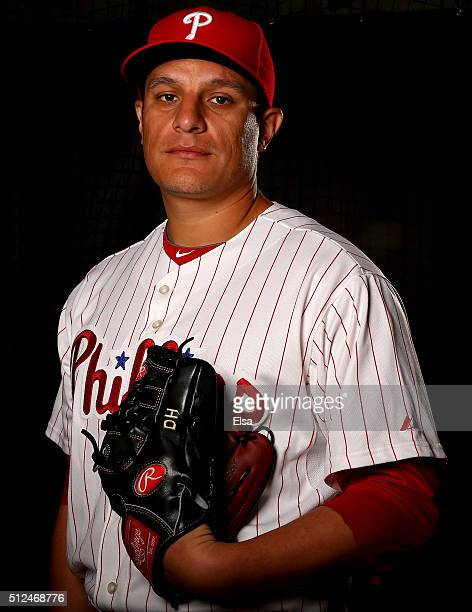 David Hernandez of the Philadelphia Phillies poses for a portrait on February 26 2016 at Bright House Field in Clearwater Florida