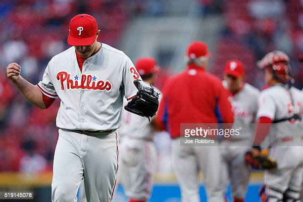 David Hernandez of the Philadelphia Phillies reacts after being taken out of the opening day game against the Cincinnati Reds at Great American Ball...