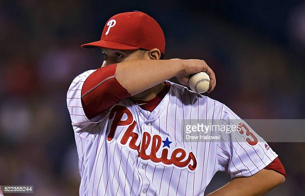 David Hernandez of the Philadelphia Phillies stands on the mound after giving up runs in the eighth inning against the New York Mets at Citizens Bank...