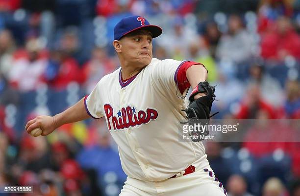 David Hernandez of the Philadelphia Phillies throws a pitch in the seventh inning during a game against the Cleveland Indians at Citizens Bank Park...