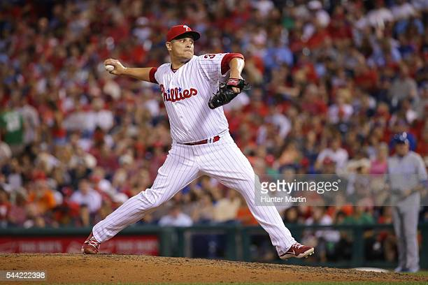 David Hernandez of the Philadelphia Phillies throws a pitch in the eighth inning during a game against the Kansas City Royals at Citizens Bank Park...
