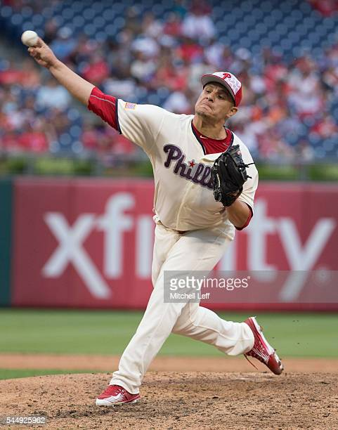 David Hernandez of the Philadelphia Phillies throws a pitch in the top of the eighth inning against the Atlanta Braves at Citizens Bank Park on July...