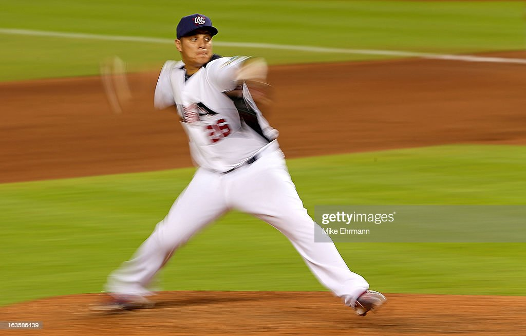 David Hernandez #26 of the United States pitches during a World Baseball Classic second round game against Puerto Rico at Marlins Park on March 12, 2013 in Miami, Florida.