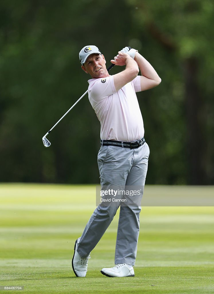 David Higgins of Ireland in action during day one of the BMW PGA Championship at Wentworth on May 26, 2016 in Virginia Water, England.