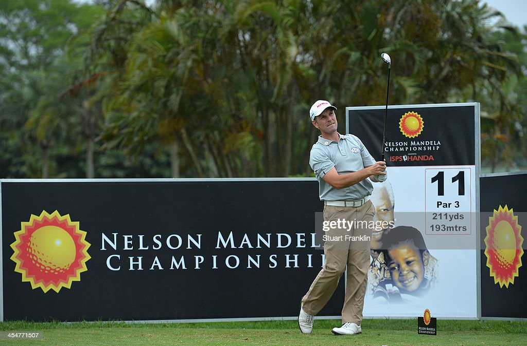 David Higgins of Ireland plays a shot during the pro-am prior to the start of the Nelson Mandela Championship presented by ISPS Handa at Mount Edgecombe Country Club on December 10, 2013 in Durban, South Africa.