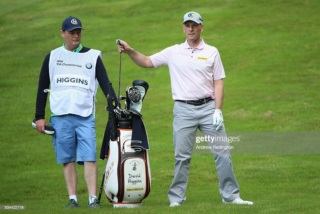 <a gi-track='captionPersonalityLinkClicked' href=/galleries/search?phrase=David+Higgins+-+Golfprofi&family=editorial&specificpeople=4523097 ng-click='$event.stopPropagation()'>David Higgins</a> of Ireland pulls a club on the 4th hole during day one of the BMW PGA Championship at Wentworth on May 26, 2016 in Virginia Water, England.