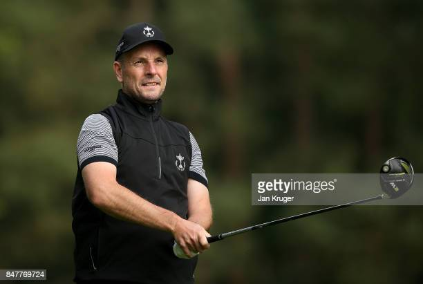David Higgins of the Great Britain and Ireland PGA Cup in action during the morning fourball matches on day 2 of the 28th PGA Cup at Foxhills Golf...