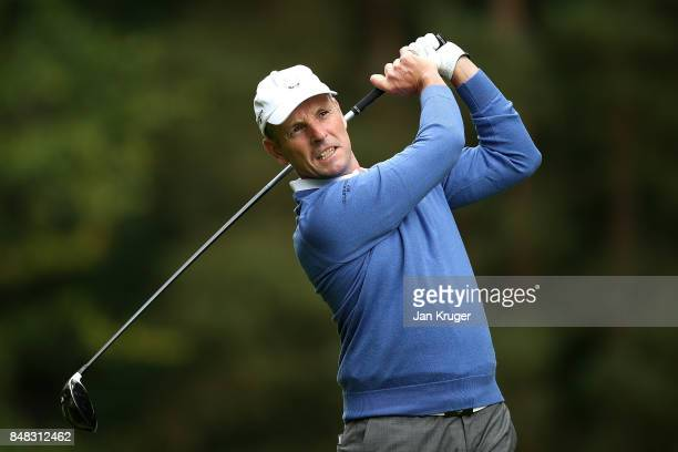 David Higgins of the Great Britain and Ireland PGA Cup team in action during the singles matches on the final day of the 28th PGA Cup at Foxhills...