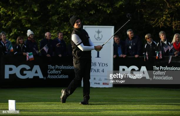 David Higgins of the Great Britain and Ireland PGA Cup team tees off during the morning fourball matches on day 2 of the 28th PGA Cup at Foxhills...
