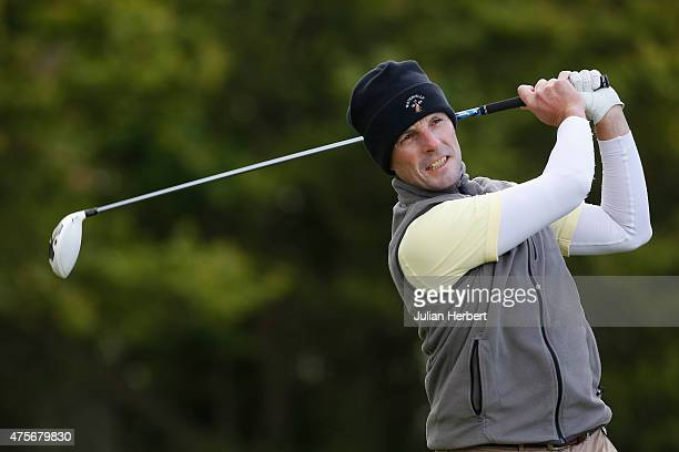 David Higgins of Waterville Golf Club plays his first shot on the 1st tee during day 2 of the Titleist FootJoy PGA Professional Championship at...