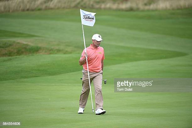 David Higgins of Waterville Golf Links on the 17th green during day four of the PGA Professional Championship at The Oxfordshire Golf Club on July 29...